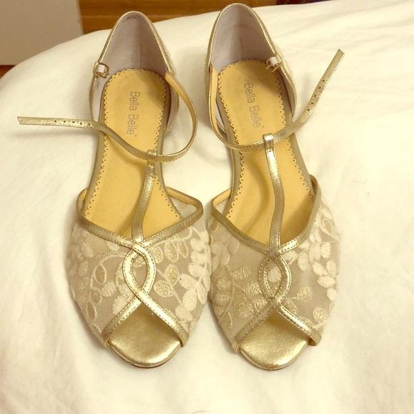 14b4d183f Bella Belle Shoes - Beautiful ivory t-strap Bella Belle wedding flats